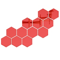 Set 12 stickere auto-adezive, 5 Continents, tip oglinda decorativa, 3D, Rosu, 126x110x63mm