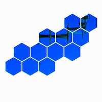 Set 12 stickere auto-adezive, 5 Continents, tip oglinda decorativa, 3D, Albastru, 240x 210x120 mm
