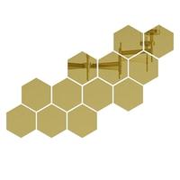 Set 12 stickere auto-adezive, 5 Continents, tip oglinda decorativa, 3D, Auriu, 126x110x63mm