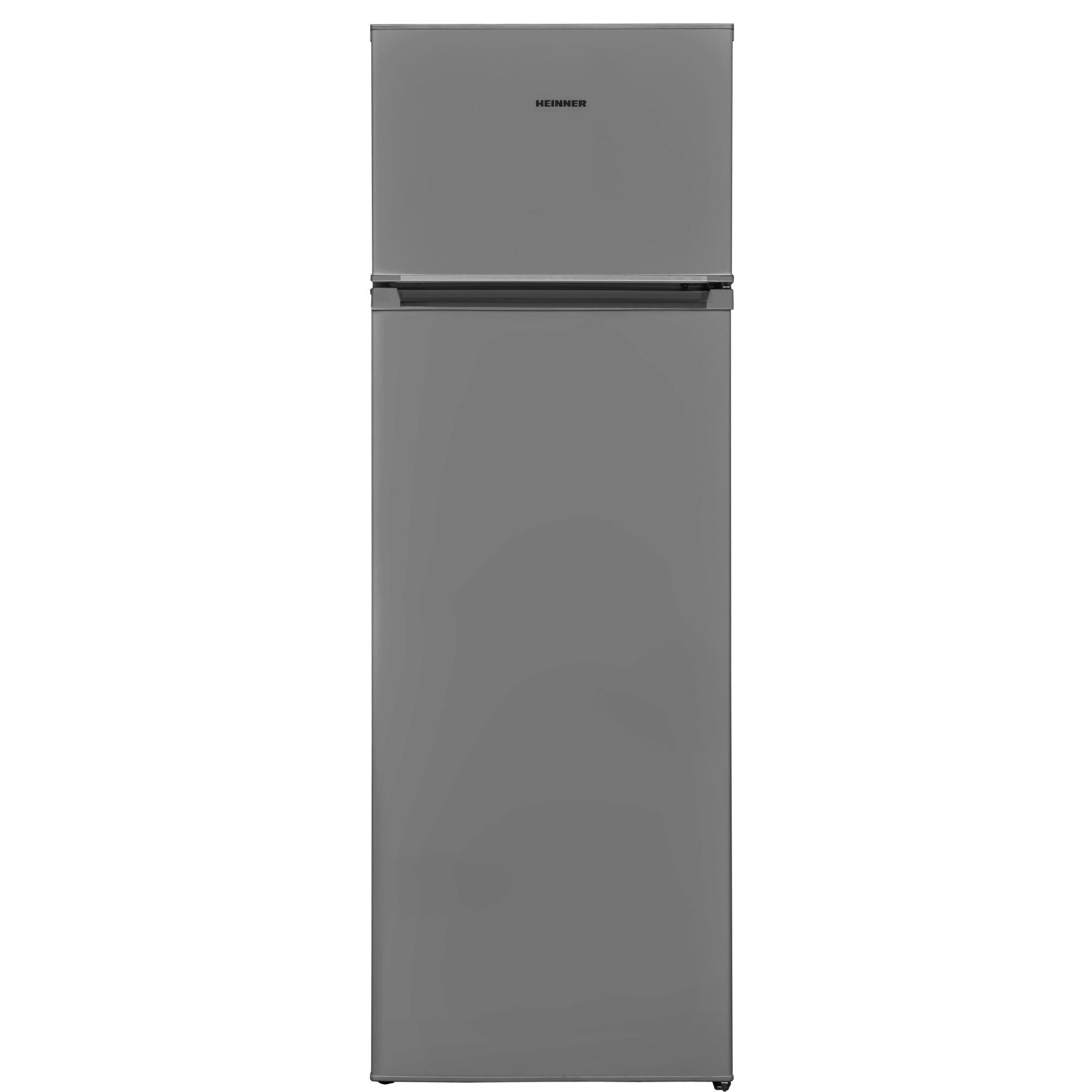 Fotografie Frigider cu doua usi Heinner HF-V240SF+, 242 l, Clasa F, Less Frost, H 160 cm, Argintiu