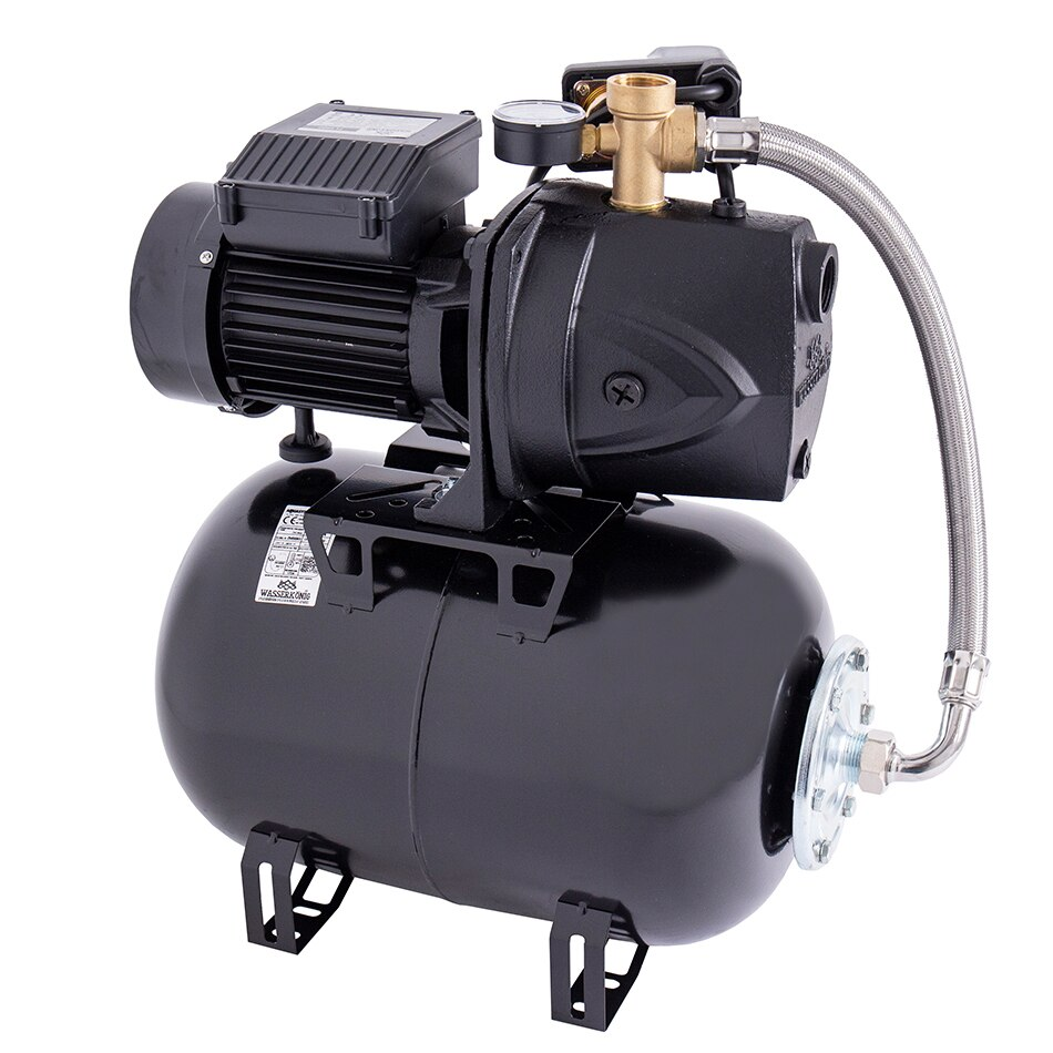 Fotografie Hidrofor cu pompa autoamorsanta pentru apa curata WASSERKONIG FL498025, 1150 W, corp fonta, 4800 l/h debit maxim, 24 l vas expansiune, 49 m inaltime refulare