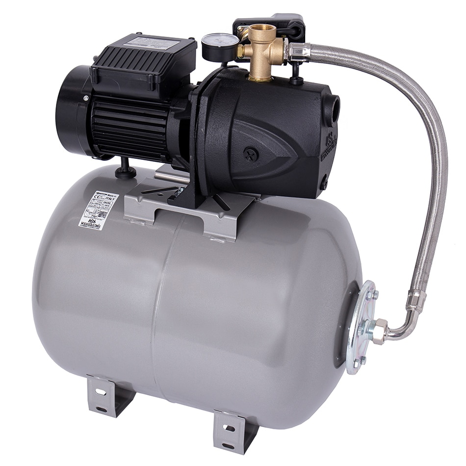Fotografie Hidrofor cu pompa autoamorsanta pentru apa curata WASSERKONIG FL528650, 1250 W, corp fonta, 5160 l/h debit maxim, 50 l vas expansiune, 52 m inaltime refulare