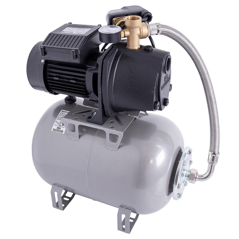 Fotografie Hidrofor cu pompa autoamorsanta pentru apa curata WASSERKONIG FS475825, 900 W, corp fonta, 3480 l/h debit maxim, 24 l vas expansiune, 47 m inaltime refulare