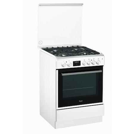 Комбинирана готварска печка Whirlpool ACMT 6332/WH, 6th Sense, 4 Нагревателни зони, Газ, Електрическа фурна, Функция Grill, Клас A, 60 см, Бяла