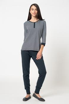 ESPRIT Bodywear, Jordyn hajszálcsíkos pizsama, Tengerészkék/Fehér