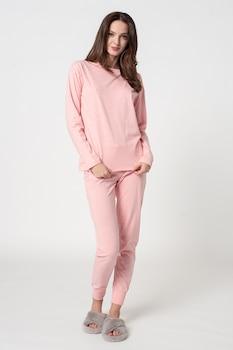 ESPRIT Bodywear, Arly hosszú organikuspamut pizsama, XL, Pasztell rózsaszín