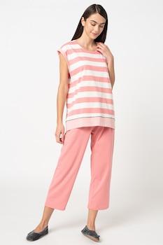 ESPRIT Bodywear, Aleesha csíkos organikuspamut pizsama bő szárú nadrággal, 2XL, Fehér/Pasztell rózsaszín