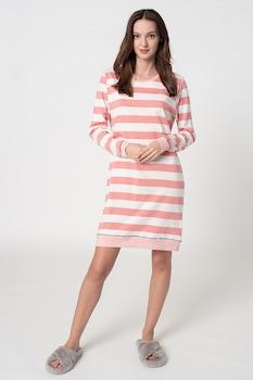 ESPRIT Bodywear, Aleesha csíkos organikuspamut hálóing, Fehér/Rózsaszín