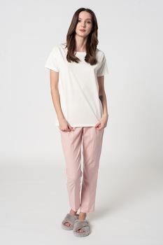 ESPRIT Bodywear, Candita organikuspamut pizsama, Fehér/Pasztell rózsaszín