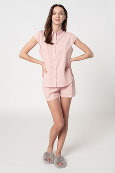 ESPRIT Bodywear, Candita kockás organikuspamut pizsama, Fehér/Pasztell rózsaszín