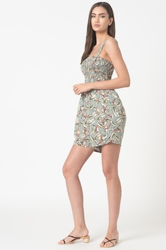 ESPRIT Bodywear, Virágmintás rövid strand overall, Zöld
