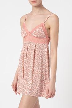 ESPRIT Bodywear, Pántos virágmintás hálóing, Rózsaszín/Drapp/Fehér