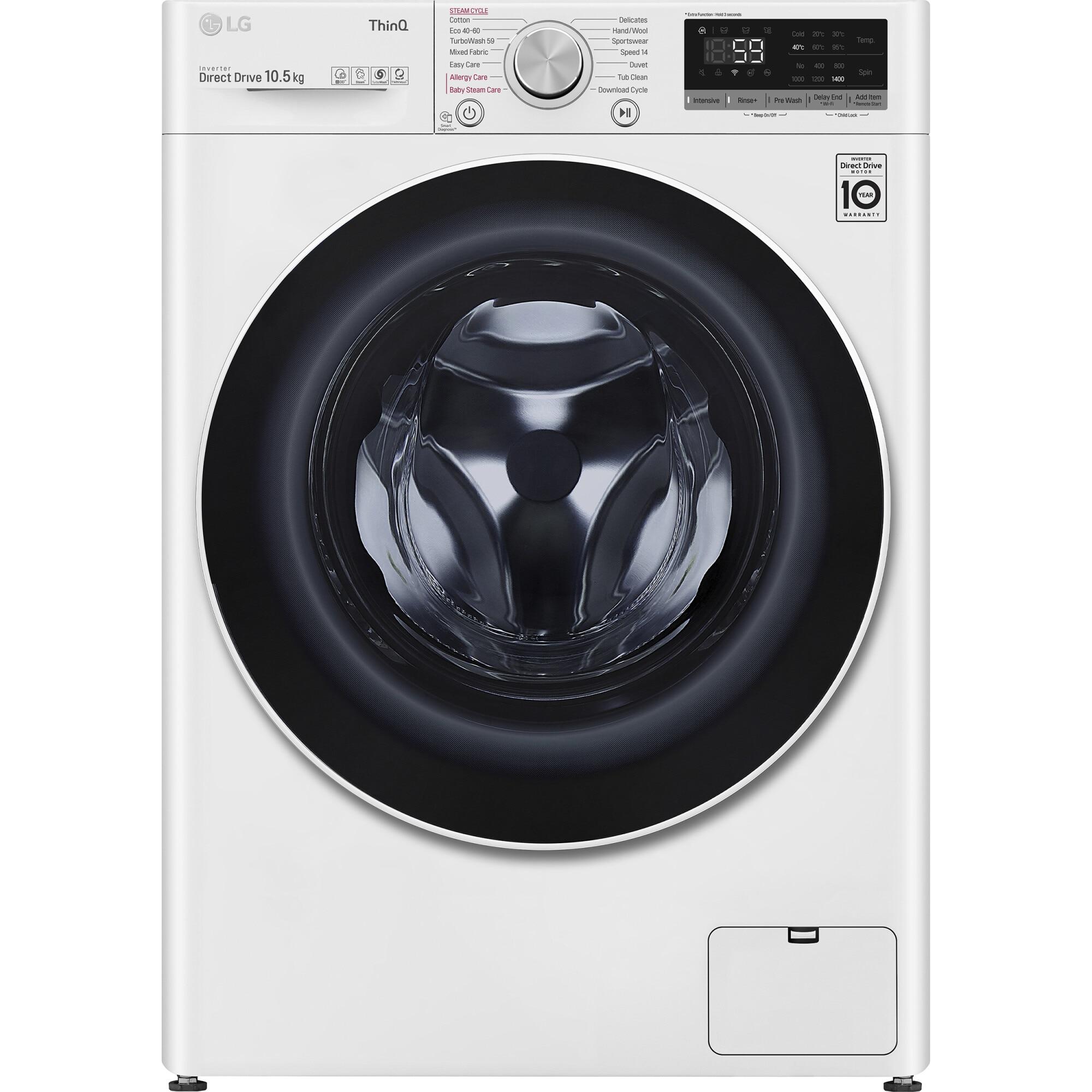 Fotografie Masina de spalat rufe LG F4WV510S0E, 10.5 kg, 1400 RPM, Clasa B, Inverter Direct Drive, Steam,Turbo Wash 59, Smart Diagnosis, WiFi, Alb