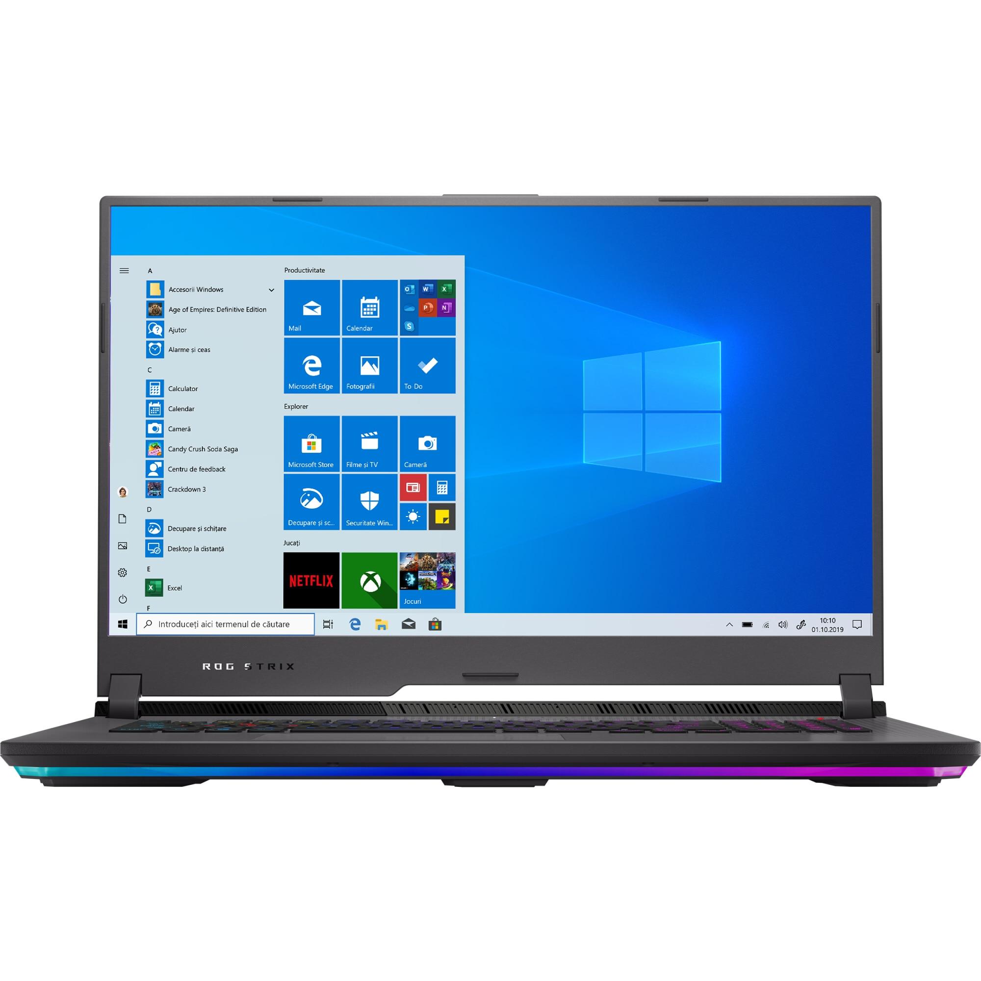 "Fotografie Laptop Gaming ASUSROG Strix G17 G713QR cu procesor AMD Ryzen™ 7 5800H pana la 4.40 GHz, 17.3"", Full HD, 300Hz, 16GB, 1TB SSD, NVIDIA® GeForce RTX™ 3070 8GB, Windows 10 Home, Eclipse Gray"