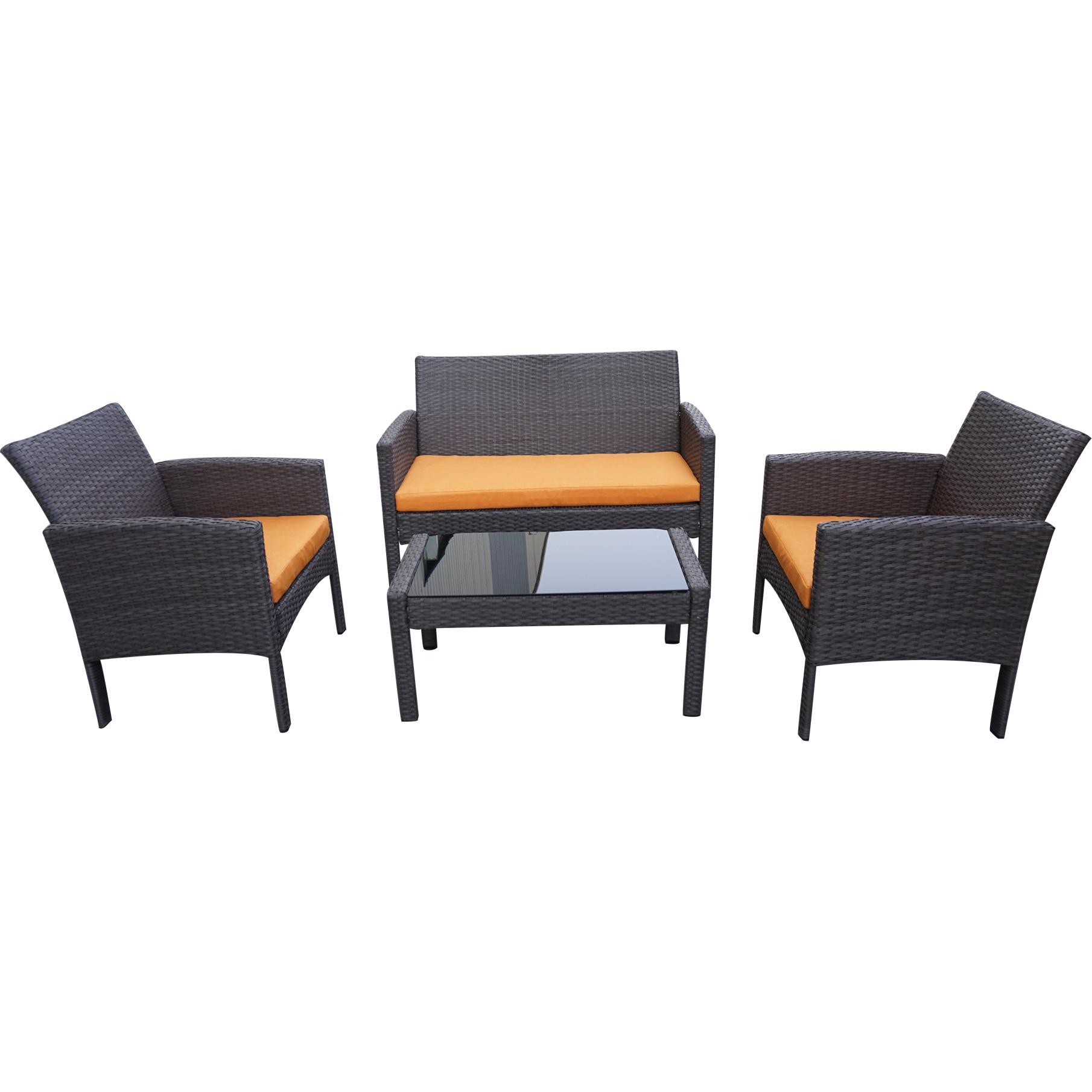 Fotografie Set mobilier gradina/terasa Kring Bahamas, masa, canapea, 2 fotolii, portocaliu