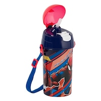 Recipient apa pentru copii cu gura, Spiderman Pop Up, Rosu/Albastru, 500 ml