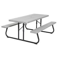 """Lifetime Asztal és sörpad, Összecsukható, """"Piknik"""" szürke, 183x76 cm"""