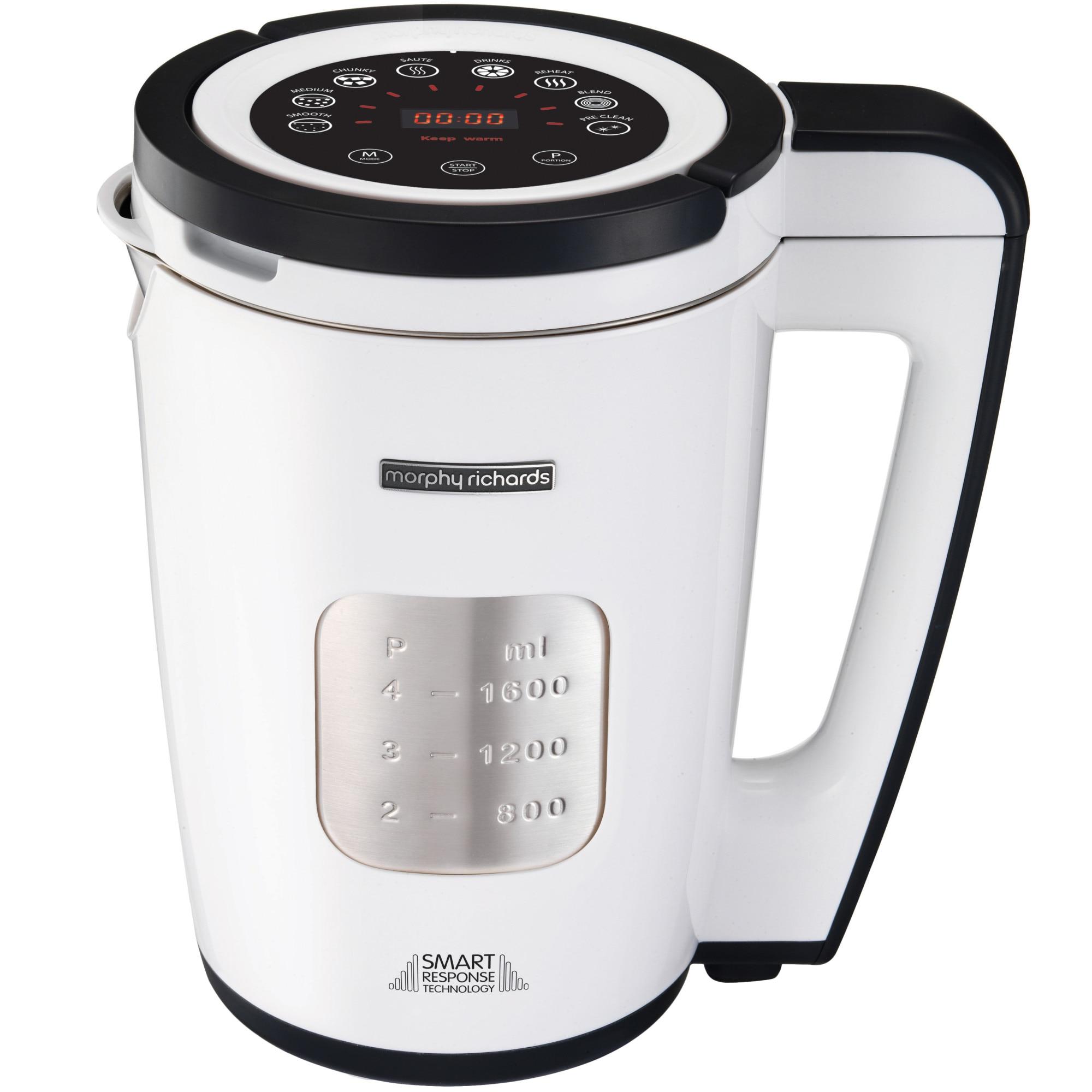 Fotografie Aparat preparat supa crema Morphy Richards 501020 Total Control Soup Maker 1100 W ,1,6 litri, 8 functii, Alb