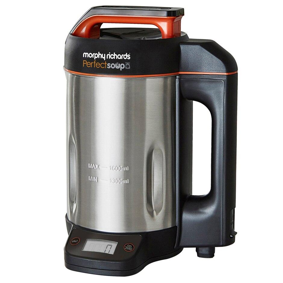 Fotografie Aparat preparat supa crema Morphy Richards 501025 Perfect Soup Maker, 1000 W , 1,6 litri, 4 functii, cantar integrat, Negru/Argintiu