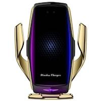 R1 Autós Qi Vezeték Nélküli Töltő Automata Telefontartó Tapadó Korongos és Szellőző Rácsos Arany