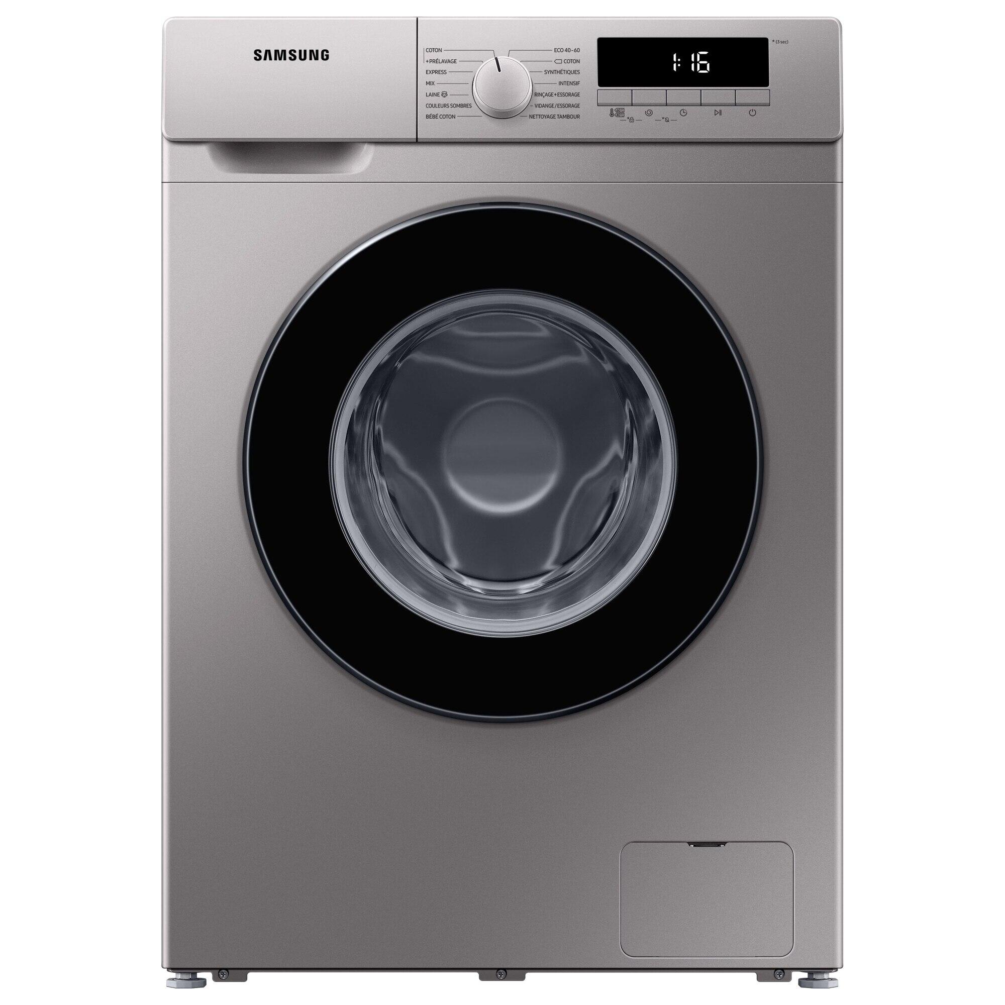 Fotografie Masina de spalat rufe Slim Samsung WW80T304MBS/LE, 8 kg, 1400 RPM, Clasa D, Smart Check, Drum Clean, Motor Digital Inverter, Argintiu