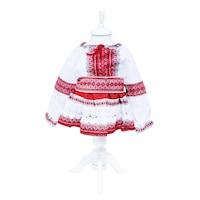 Costum popular alb-rosu, 3 piese, bluza, fusta, brau, pentru fetite, REC17, 1-2 ani