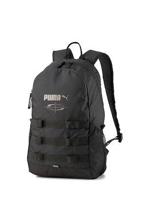 Puma, Rucsac cu imprimeu logo si buzunare laterale cu plasa Style - 21l, Negru