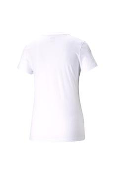 Puma, kerek nyakú logómintás póló, Fehér/Rózsaszín
