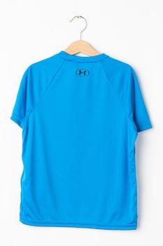Under Armour, Фитнес тениска Tech Hybrid с лого, Син