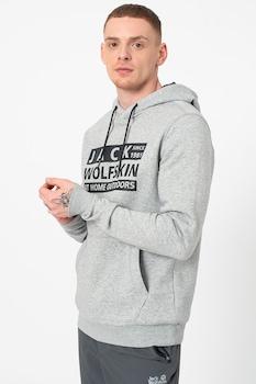 Jack Wolfskin, Brand kapucnis organikuspamu-tartalmú pulóver logóval, M, Melange szürke/Fekete