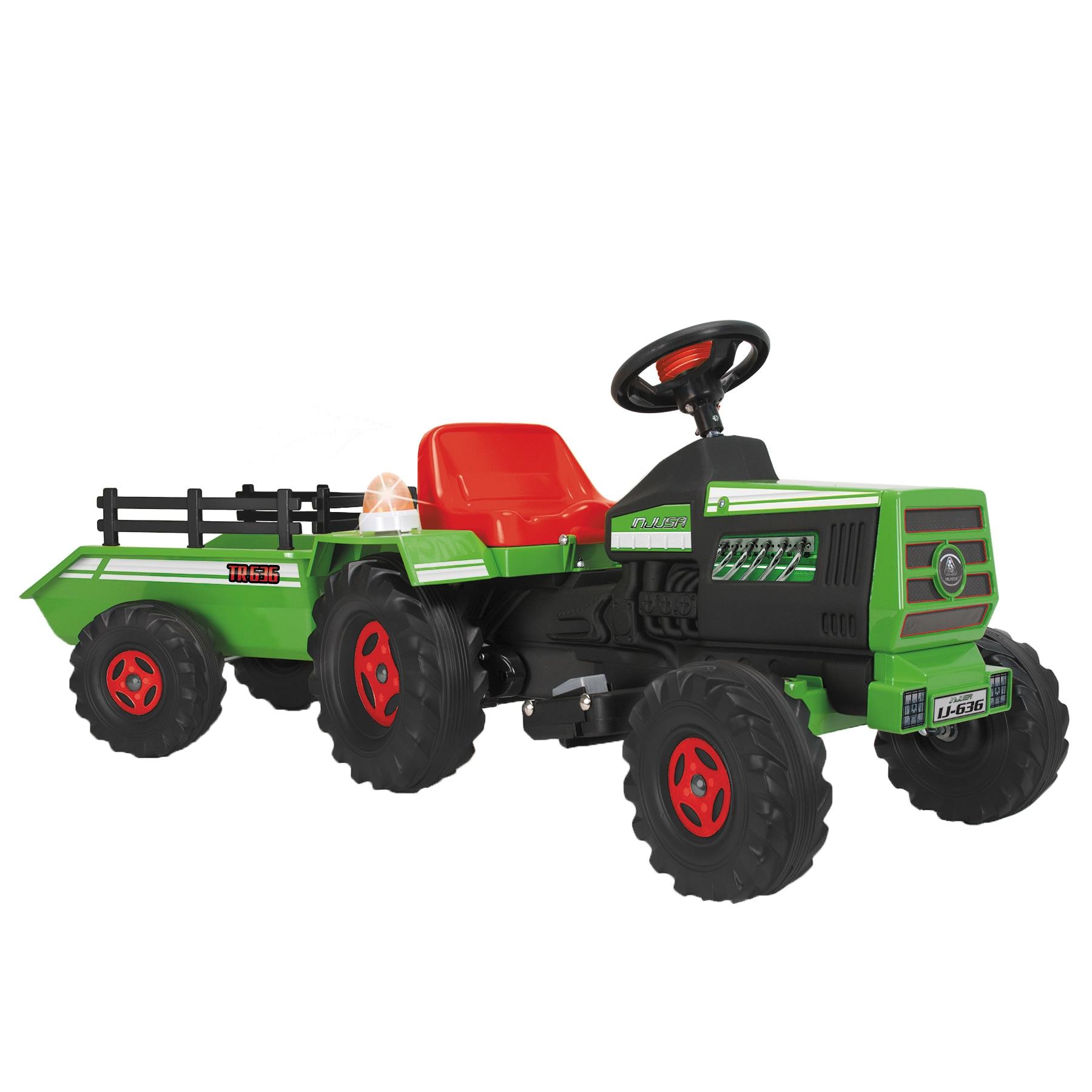 Fotografie Tractor electric cu remorca pentru copii Injusa, 6v, verde