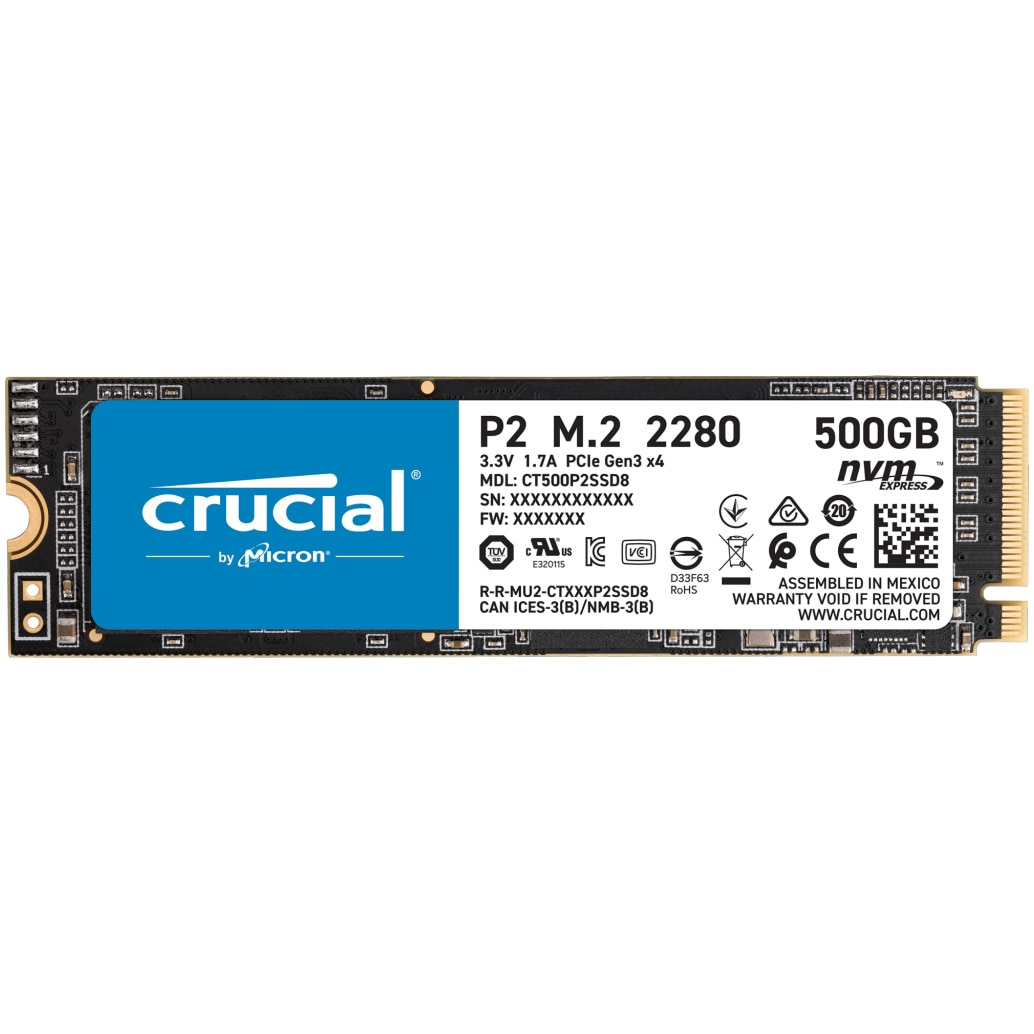 Fotografie Solid State Drive (SSD) Crucial P2, 500GB, NVMe, M.2.