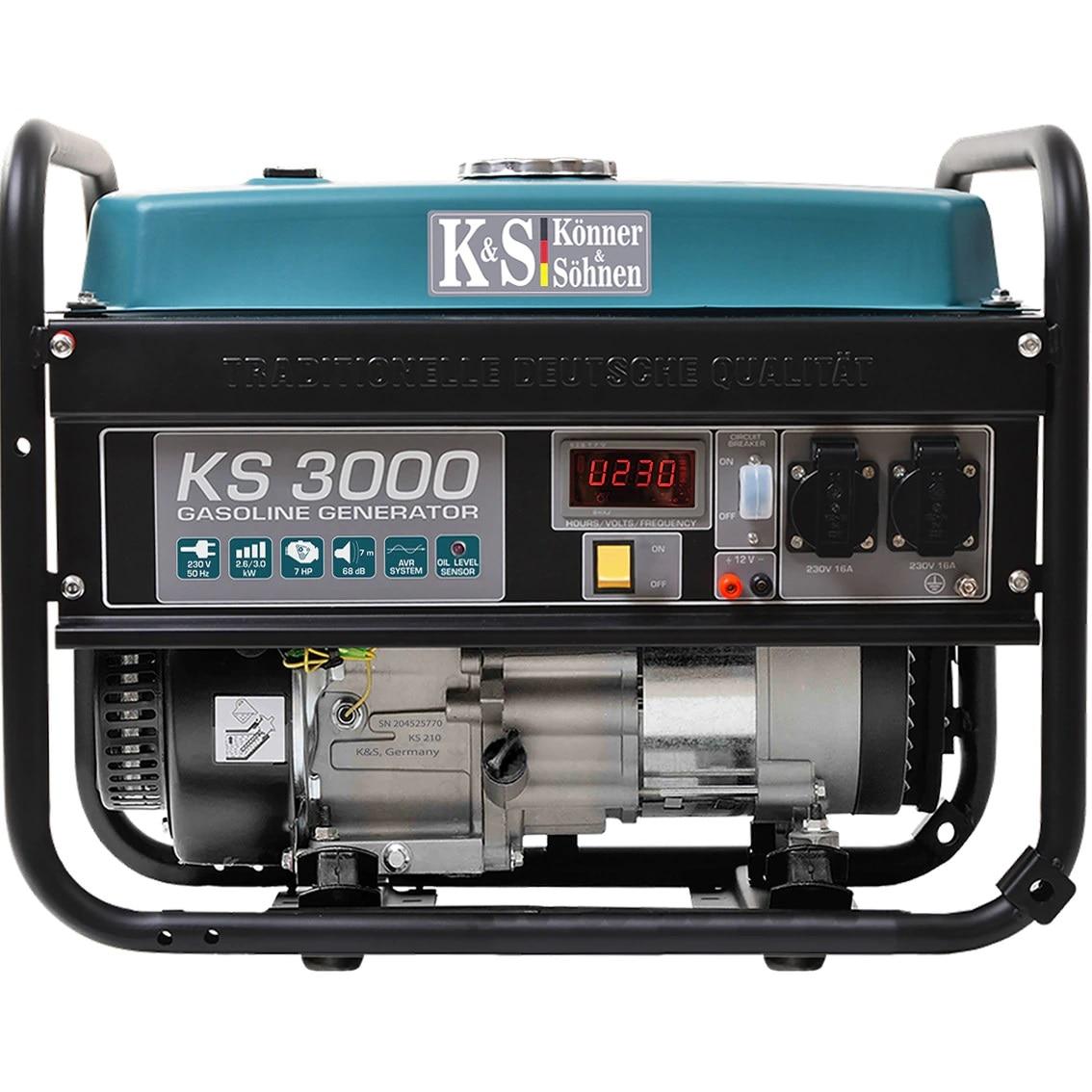 Fotografie Generator curent electric Könner&Söhnen KS 3000, 7 CP, 3000 W, easy start, 2 x 230 V, 1 x 12 V, protectie suprasarcina, 15 h autonomie maxima, benzina