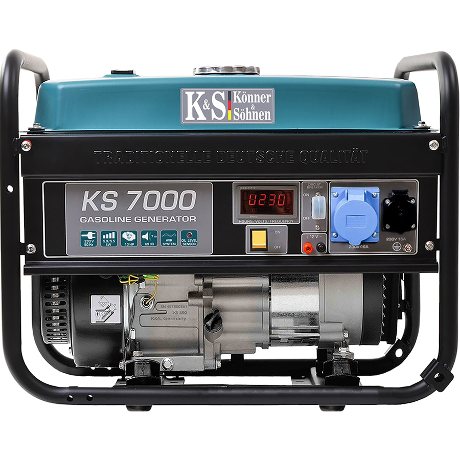 Fotografie Generator curent electric Könner&Söhnen KS 7000, 6.7 CP, 5000 W, stabilizator de tensiune (AVR), monofazat, 2 prize, 17 h autonomie maxima, benzina