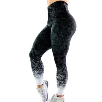 Fitness harisnyanadrág, jóga, aerobic, futás, M méret, Fekete színátmenet, magas derék, 38-40 EU