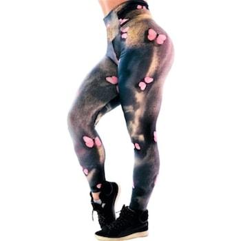 Fitness harisnyanadrág, jóga, aerobic, kocogás, Többszínű, M méret Pink Butterfly, derékig, 38-40 EU