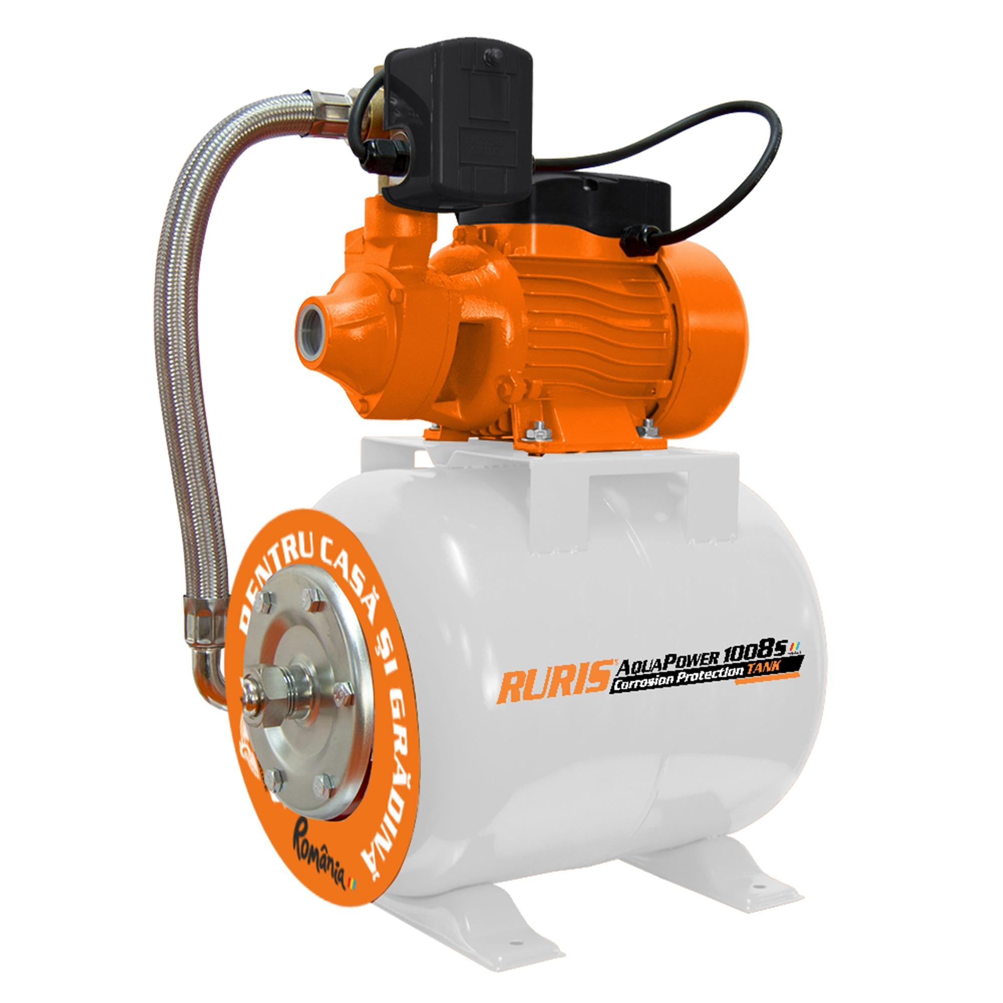 Fotografie Hidrofor RURIS aquapower 1008S, 750 W, 19 l, debit 46 l/min, refulare 45 m inaltime refulare, 9 m adancime absorbtie