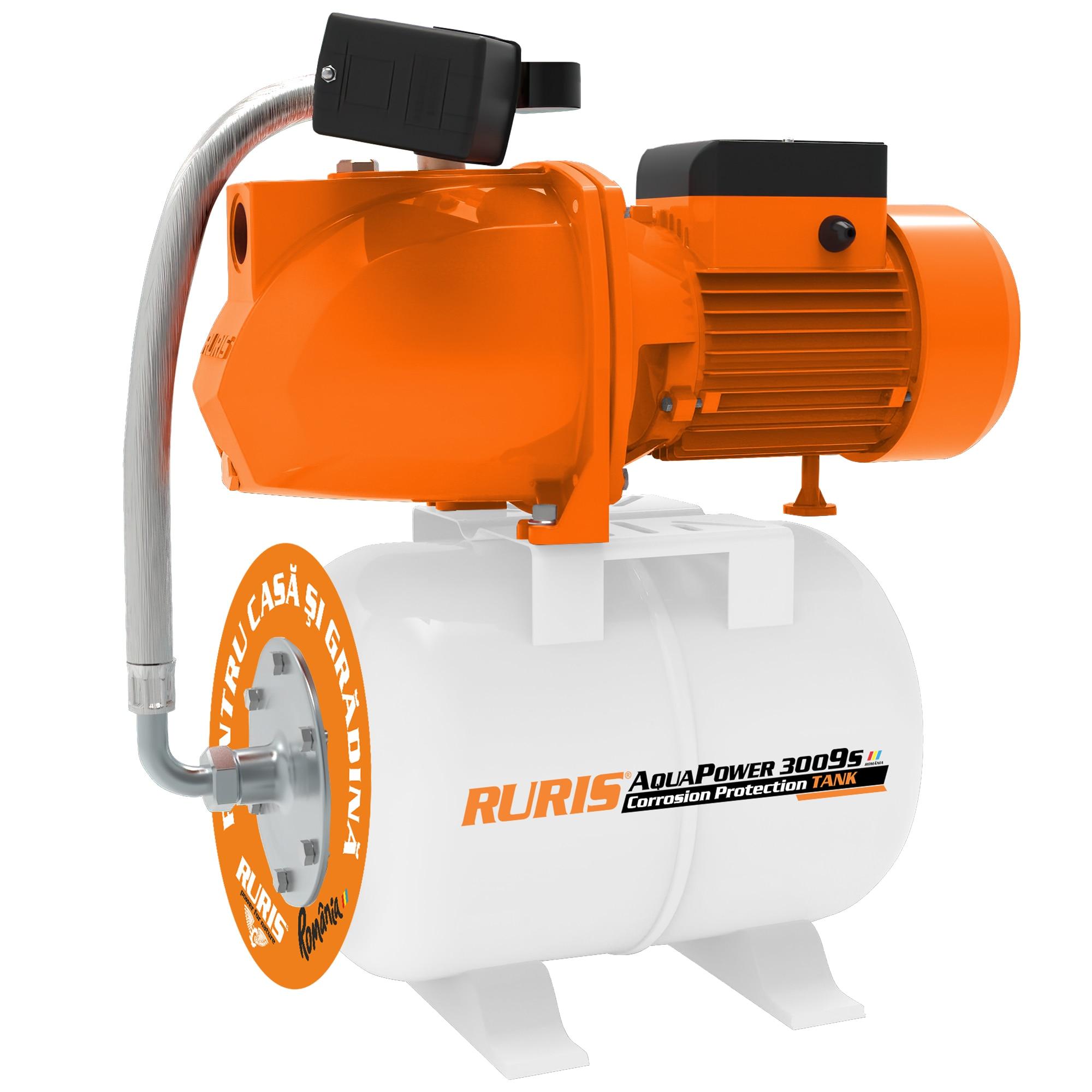Fotografie Hidrofor RURIS aquapower 3009S, 1500 W, 24 l, debit 55 l/min, refulare 60 m inaltime refulare, 9 m adancime absorbtie