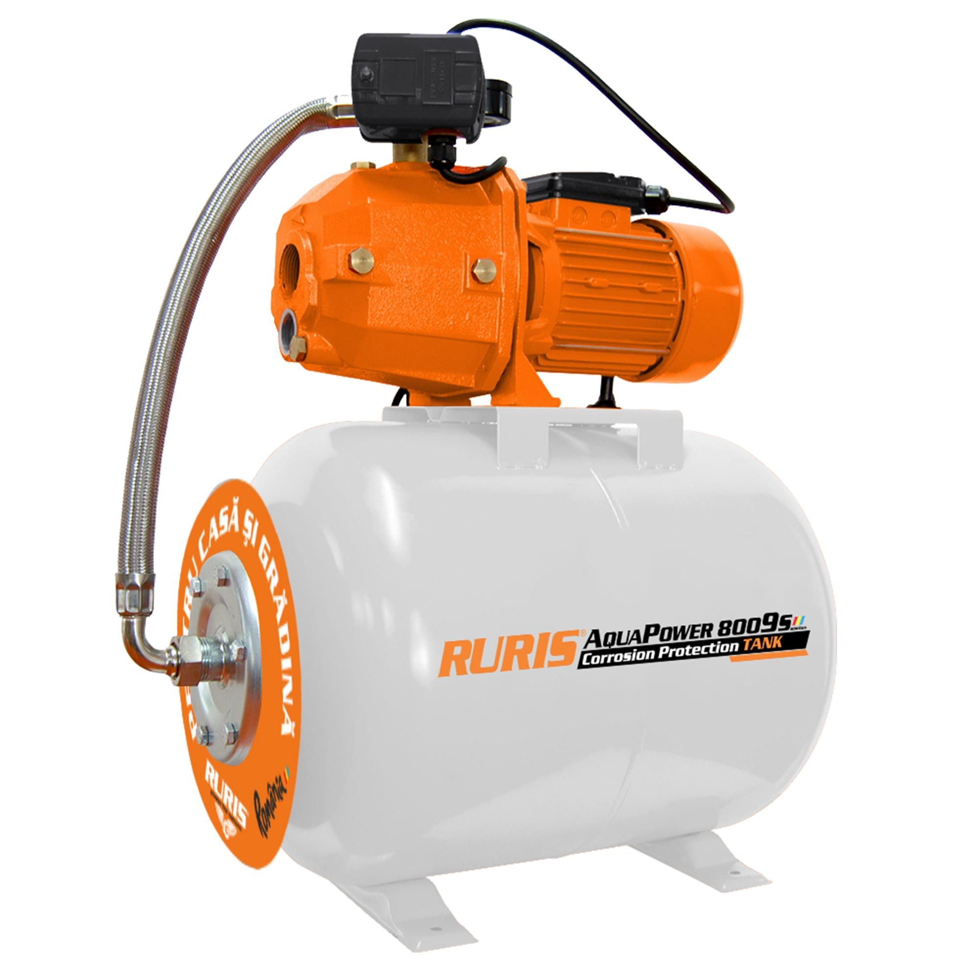 Fotografie Hidrofor RURIS aquapower 8009S, 1.100 W, 50 l , debit 30 l/min, 55 m inaltime refulare, 25 m adancime absorbtie