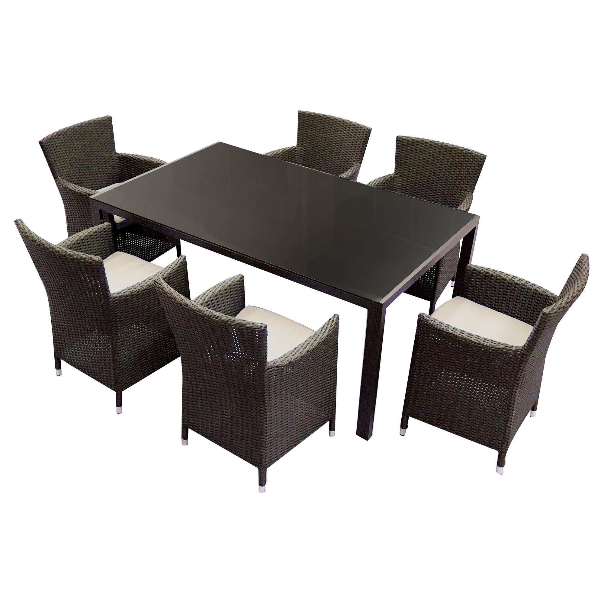 Fotografie Set mobilier gradina/terasa, Kring Thomas, masa cu 6 scaune, 167.5x101.5x73, maro
