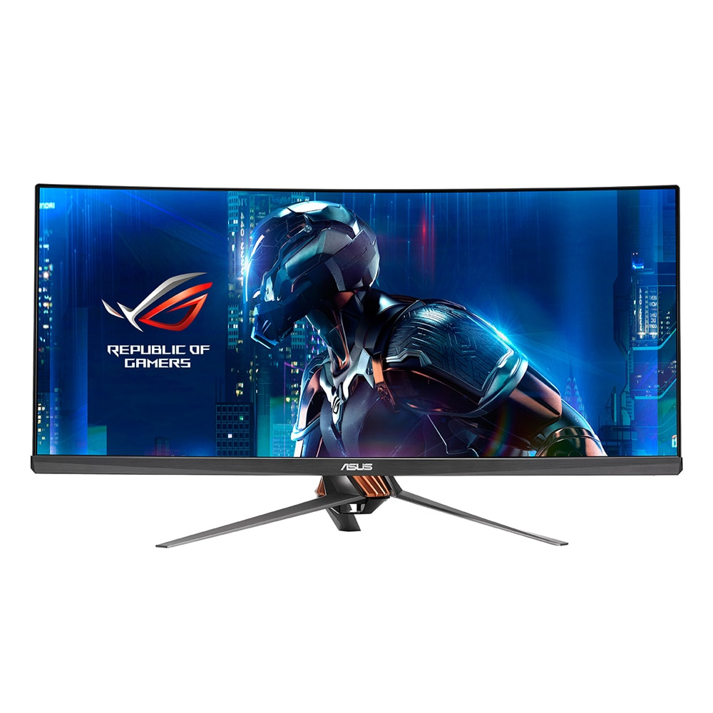 "Fotografie Monitor Curbat Gaming LED IPS ASUS ROG 34"", Ultra wide, FrameLess, QHD, G-Sync, 100Hz, 300 cd, DisplayPort, HDMI, Negru, PG348Q"