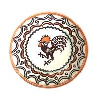 Farfurie din ceramica de Horezu, Cocosul de Hurez, model 5470, Ø 190 mm