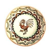 Farfurie din ceramica de Horezu, Cocosul de Hurez, model 5469, Ø 190 mm