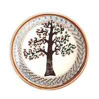 Farfurie din ceramica de Horezu, Pomul vietii, model 5473, Ø 190 mm