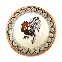 Farfurie din ceramica de Horezu, Cocosul de Hurez, model 5468, Ø 190 mm