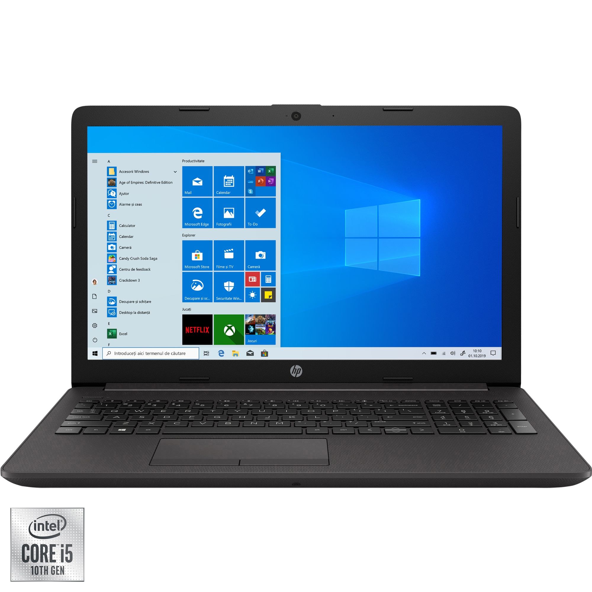 "Fotografie Laptop HP 250 G7 cu procesor Intel Core i5-1035G1 pana la 3.60 GHz, 15.6"", Full HD, 8GB, 256GB SSD, Intel UHD Graphics, Windows 10 Pro, Dark Ash Silver"