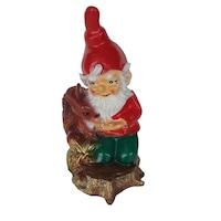 Pitic cu veverita, gradina/foisor/balcon, ornament tip gnom, din fibra de sticla, pentru interior/exterior, 41 cm, alb/rosu