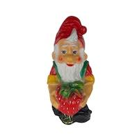 Pitic cu capsuna, gradina/foisor/balcon, ornament tip gnom, din fibra de sticla, pentru interior/exterior, 45 cm, alb/rosu