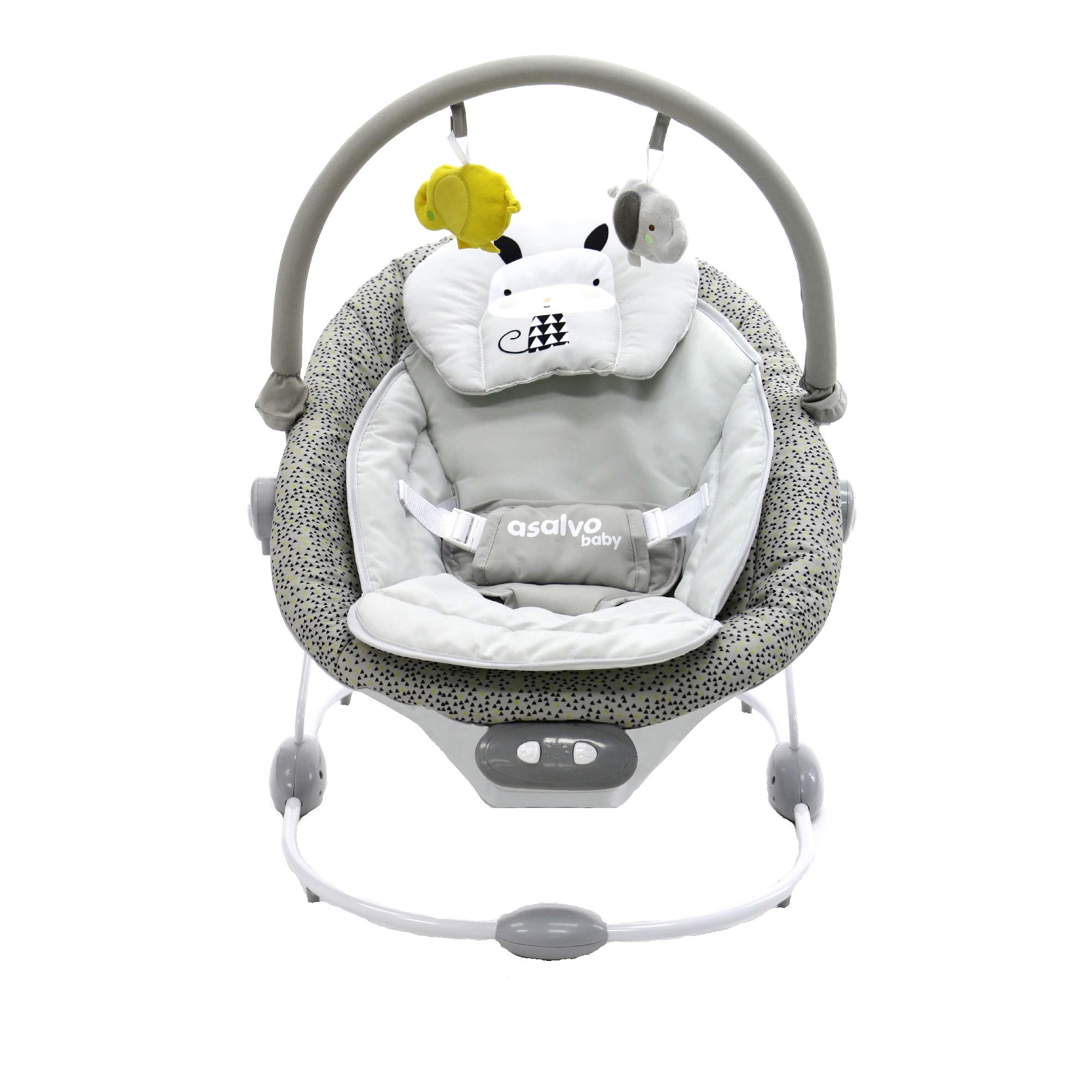 Fotografie Balansoar cu vibratii si sunete pentru bebelusi Asalvo Nordic, Gri