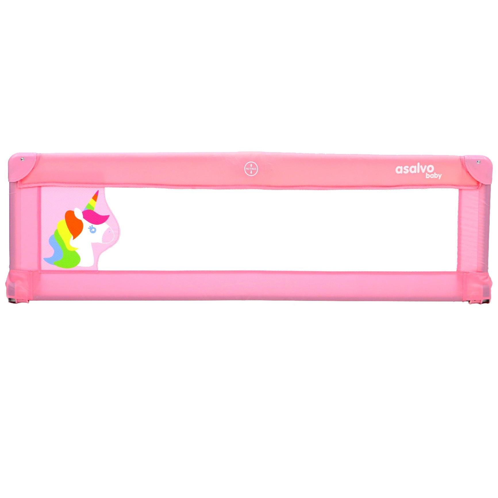 Fotografie Bariera de protectie pat copii Asalvo Unicorn, 140 x 43.5 cm, Roz